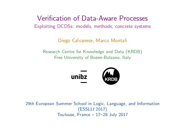 Verification of Data-Aware Processes Exploiting DCDSs: models, methods, concrete systems Diego Calvanese, Marco Montali Res...