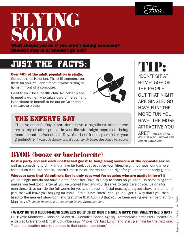 FLYING SOLO  Four.  What should you do if you aren't dating someone? Should I stay in or should I go out?  Just the Facts:...