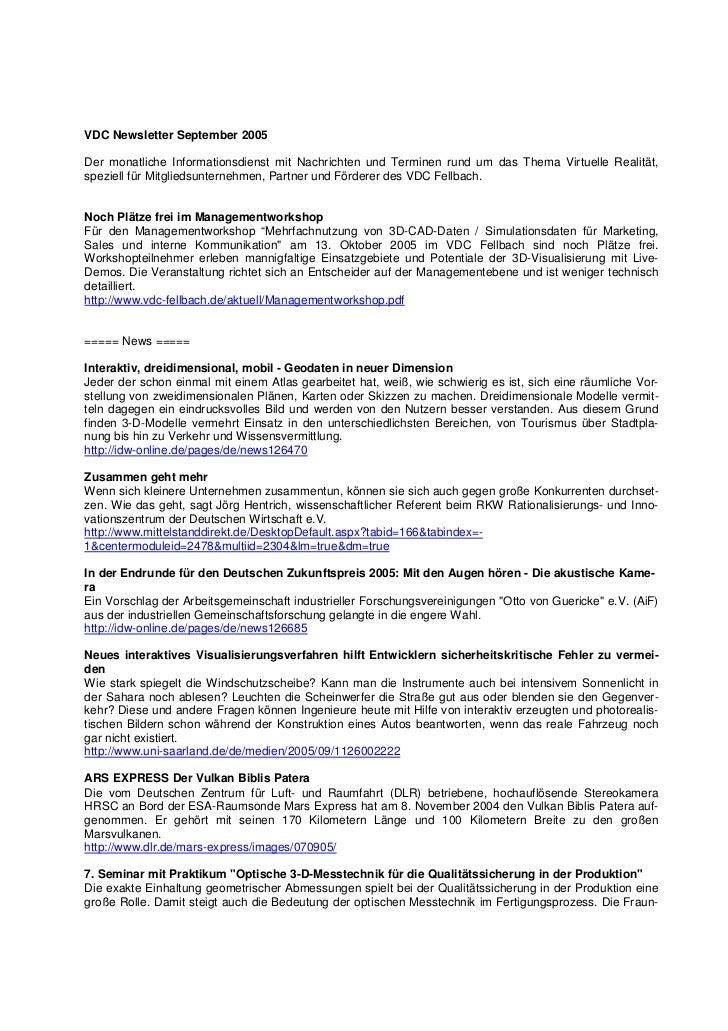 VDC Newsletter September 2005Der monatliche Informationsdienst mit Nachrichten und Terminen rund um das Thema Virtuelle Re...