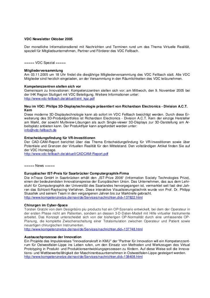 VDC Newsletter Oktober 2005Der monatliche Informationsdienst mit Nachrichten und Terminen rund um das Thema Virtuelle Real...