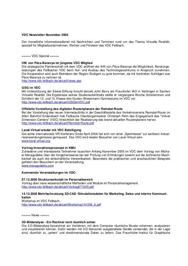VDC Newsletter November 2005Der monatliche Informationsdienst mit Nachrichten und Terminen rund um das Thema Virtuelle Rea...