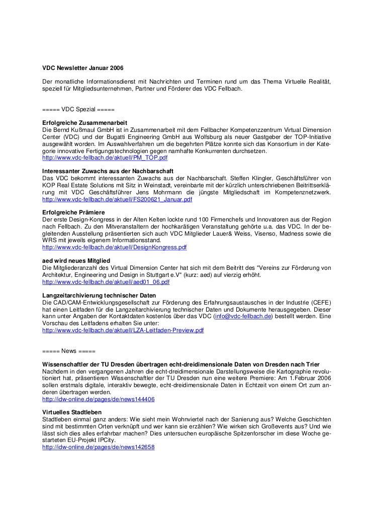 VDC Newsletter Januar 2006Der monatliche Informationsdienst mit Nachrichten und Terminen rund um das Thema Virtuelle Reali...
