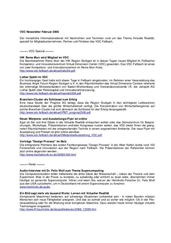VDC Newsletter Februar 2006Der monatliche Informationsdienst mit Nachrichten und Terminen rund um das Thema Virtuelle Real...