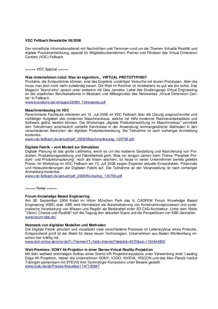 VDC Fellbach Newsletter 06/2006Der monatliche Informationsdienst mit Nachrichten und Terminen rund um die Themen Virtuelle...