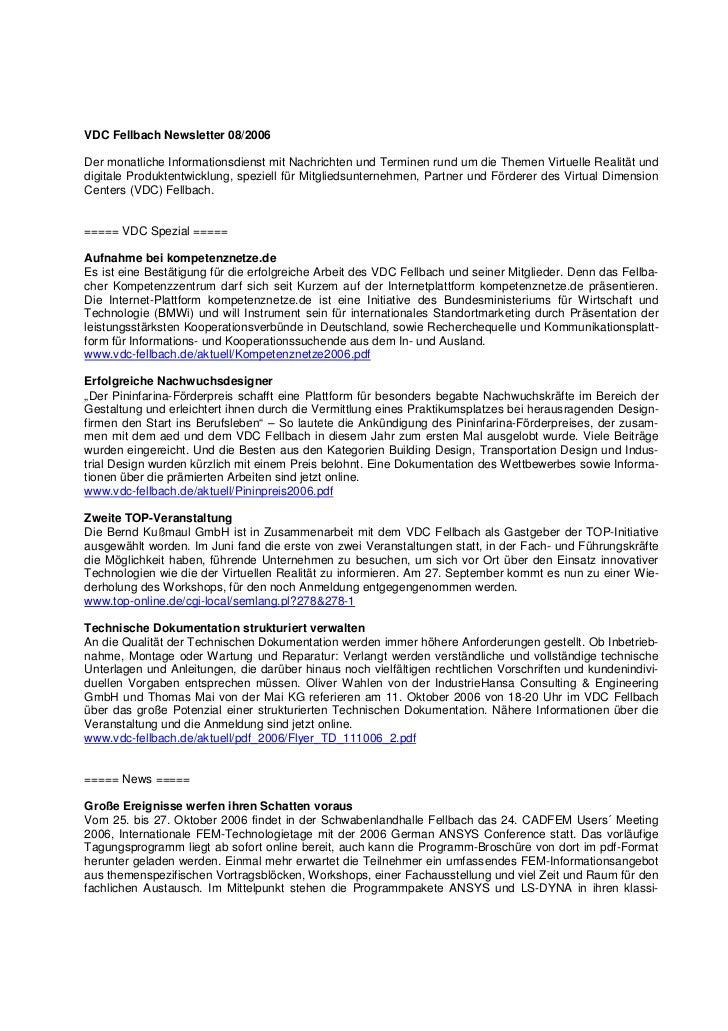 VDC Fellbach Newsletter 08/2006Der monatliche Informationsdienst mit Nachrichten und Terminen rund um die Themen Virtuelle...