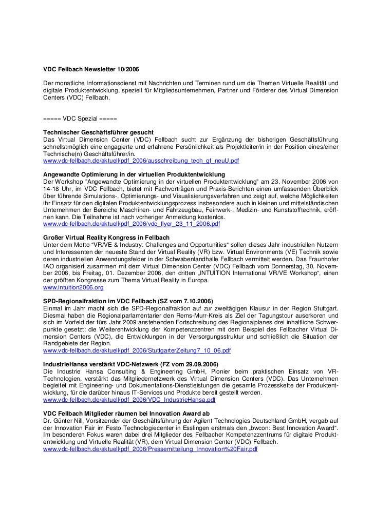 VDC Fellbach Newsletter 10/2006Der monatliche Informationsdienst mit Nachrichten und Terminen rund um die Themen Virtuelle...