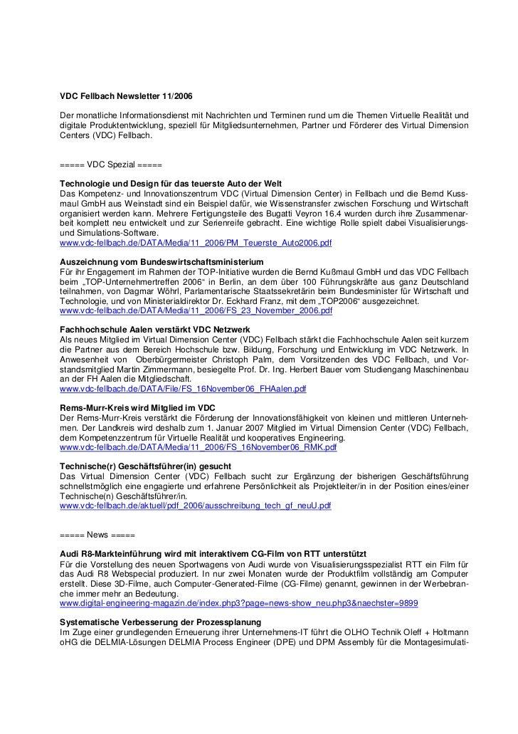VDC Fellbach Newsletter 11/2006Der monatliche Informationsdienst mit Nachrichten und Terminen rund um die Themen Virtuelle...