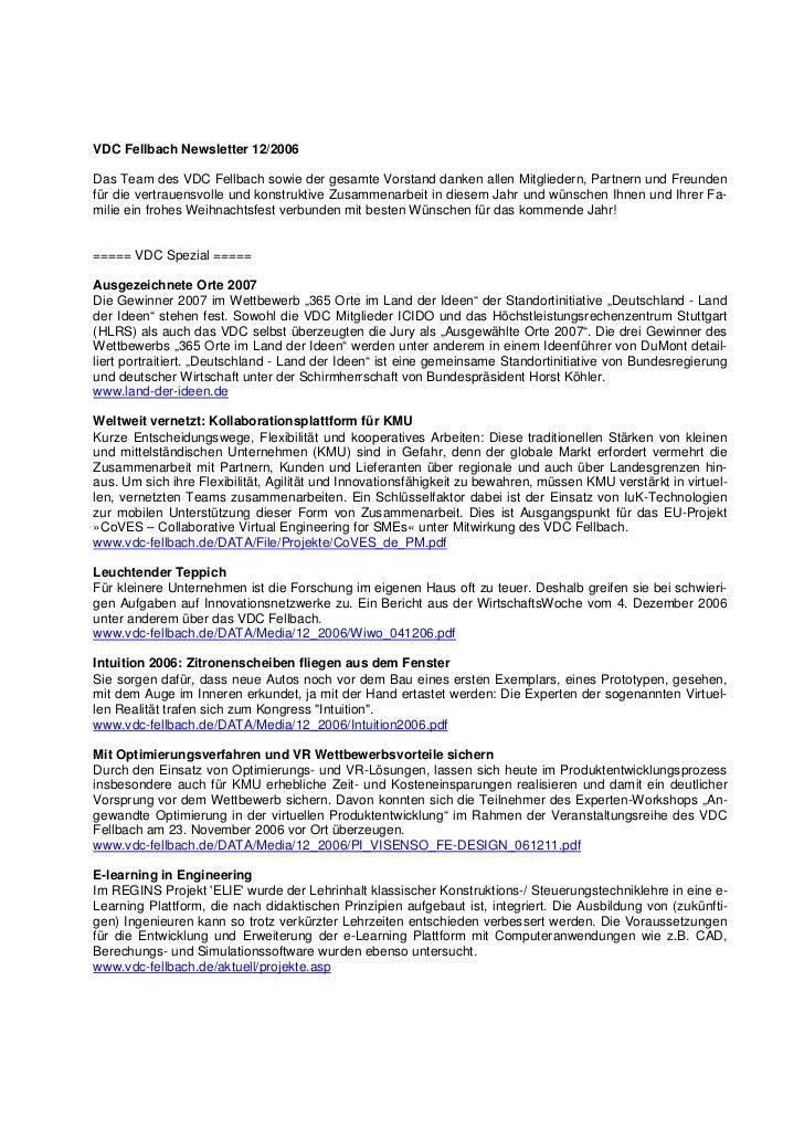 VDC Fellbach Newsletter 12/2006Das Team des VDC Fellbach sowie der gesamte Vorstand danken allen Mitgliedern, Partnern und...