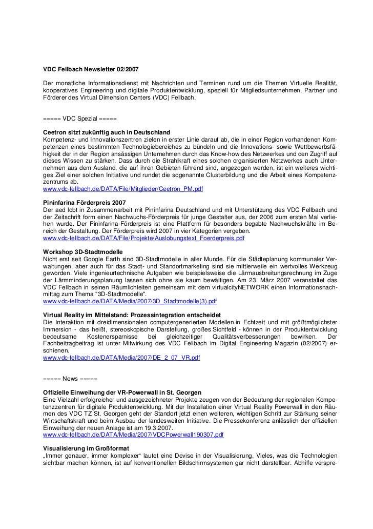 VDC Fellbach Newsletter 02/2007Der monatliche Informationsdienst mit Nachrichten und Terminen rund um die Themen Virtuelle...