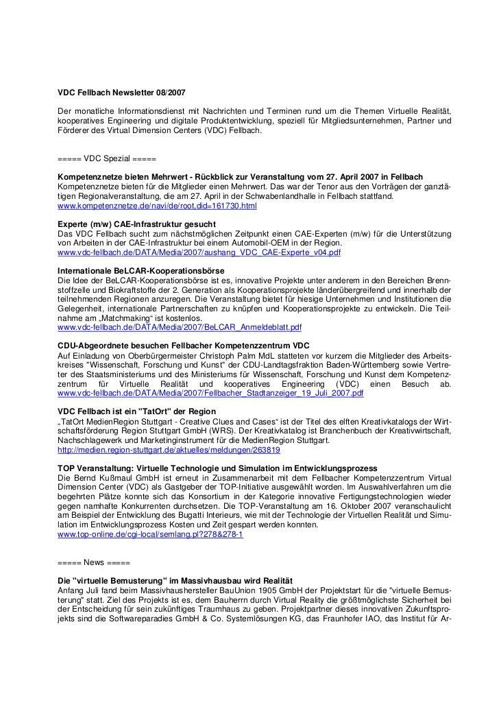 VDC Fellbach Newsletter 08/2007Der monatliche Informationsdienst mit Nachrichten und Terminen rund um die Themen Virtuelle...