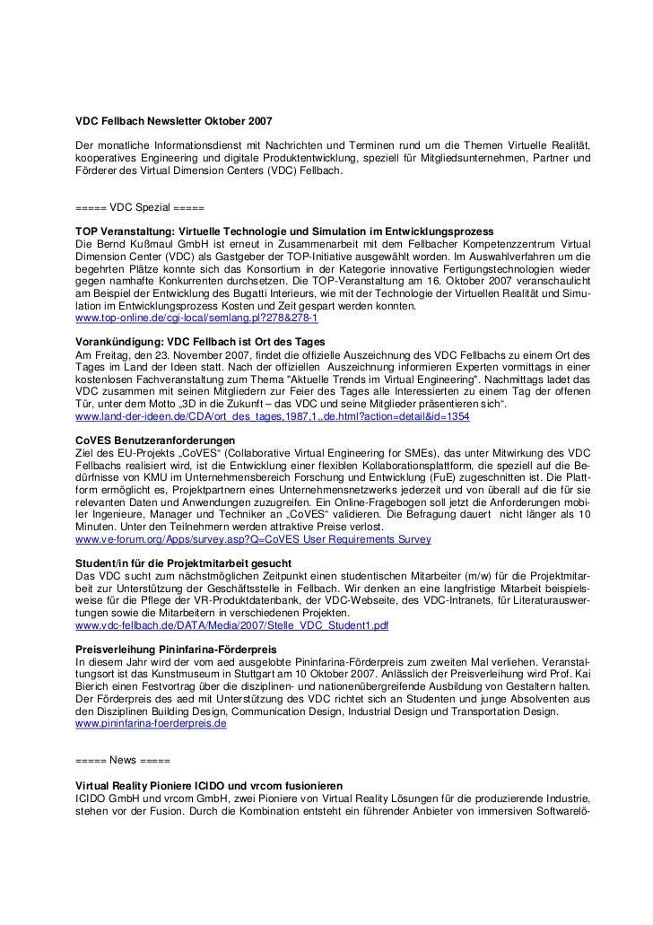 VDC Fellbach Newsletter Oktober 2007Der monatliche Informationsdienst mit Nachrichten und Terminen rund um die Themen Virt...
