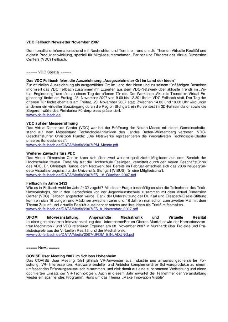 VDC Fellbach Newsletter November 2007Der monatliche Informationsdienst mit Nachrichten und Terminen rund um die Themen Vir...
