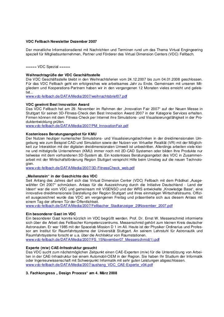 VDC Fellbach Newsletter Dezember 2007Der monatliche Informationsdienst mit Nachrichten und Terminen rund um das Thema Virt...