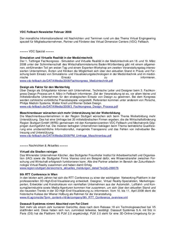 VDC Fellbach Newsletter Februar 2008Der monatliche Informationsdienst mit Nachrichten und Terminen rund um das Thema Virtu...