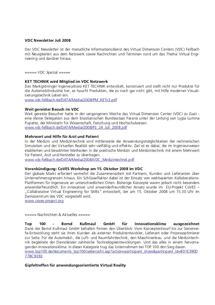 VDC Newsletter Juli 2008Der VDC Newsletter ist der monatliche Informationsdienst des Virtual Dimension Centers (VDC) Fellb...