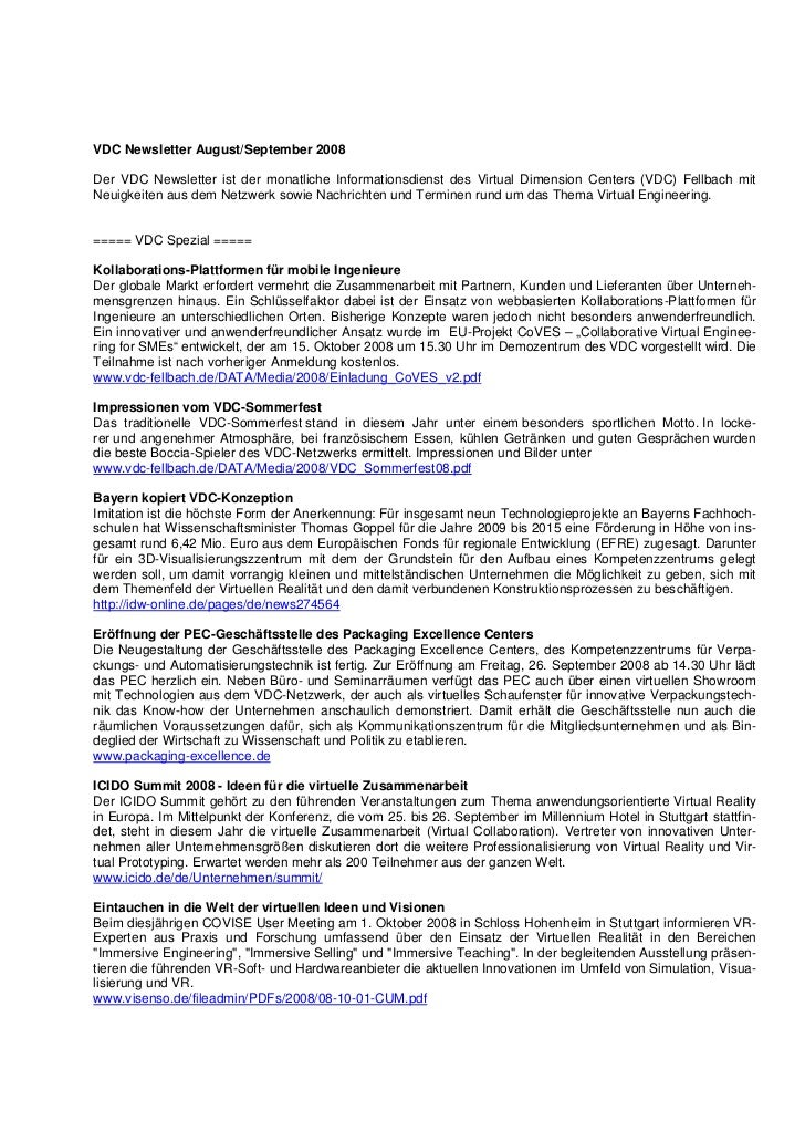 VDC Newsletter August/September 2008Der VDC Newsletter ist der monatliche Informationsdienst des Virtual Dimension Centers...