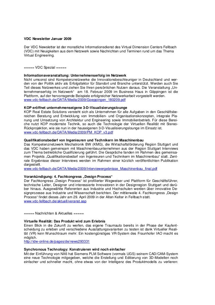 VDC Newsletter Januar 2009Der VDC Newsletter ist der monatliche Informationsdienst des Virtual Dimension Centers Fellbach(...