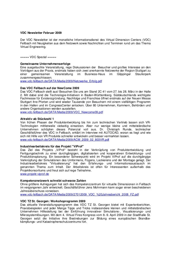 VDC Newsletter Februar 2009Der VDC Newsletter ist der monatliche Informationsdienst des Virtual Dimension Centers (VDC)Fel...