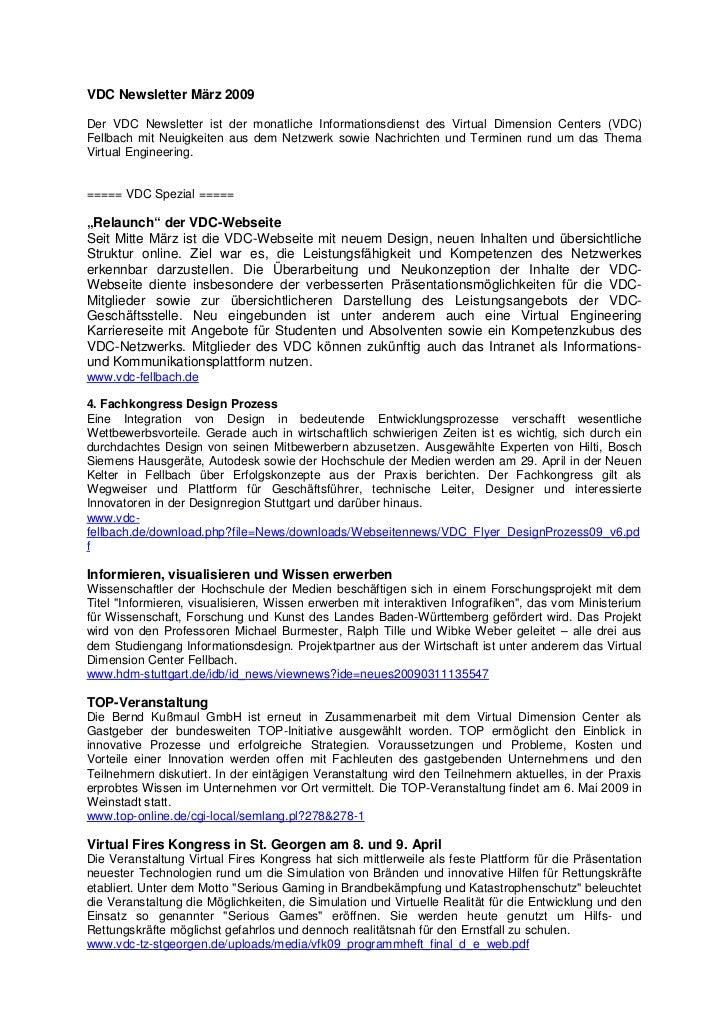 VDC Newsletter März 2009Der VDC Newsletter ist der monatliche Informationsdienst des Virtual Dimension Centers (VDC)Fellba...