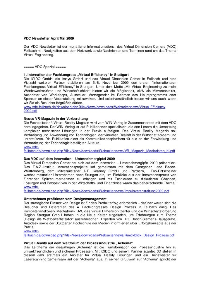 VDC Newsletter April/Mai 2009Der VDC Newsletter ist der monatliche Informationsdienst des Virtual Dimension Centers (VDC)F...