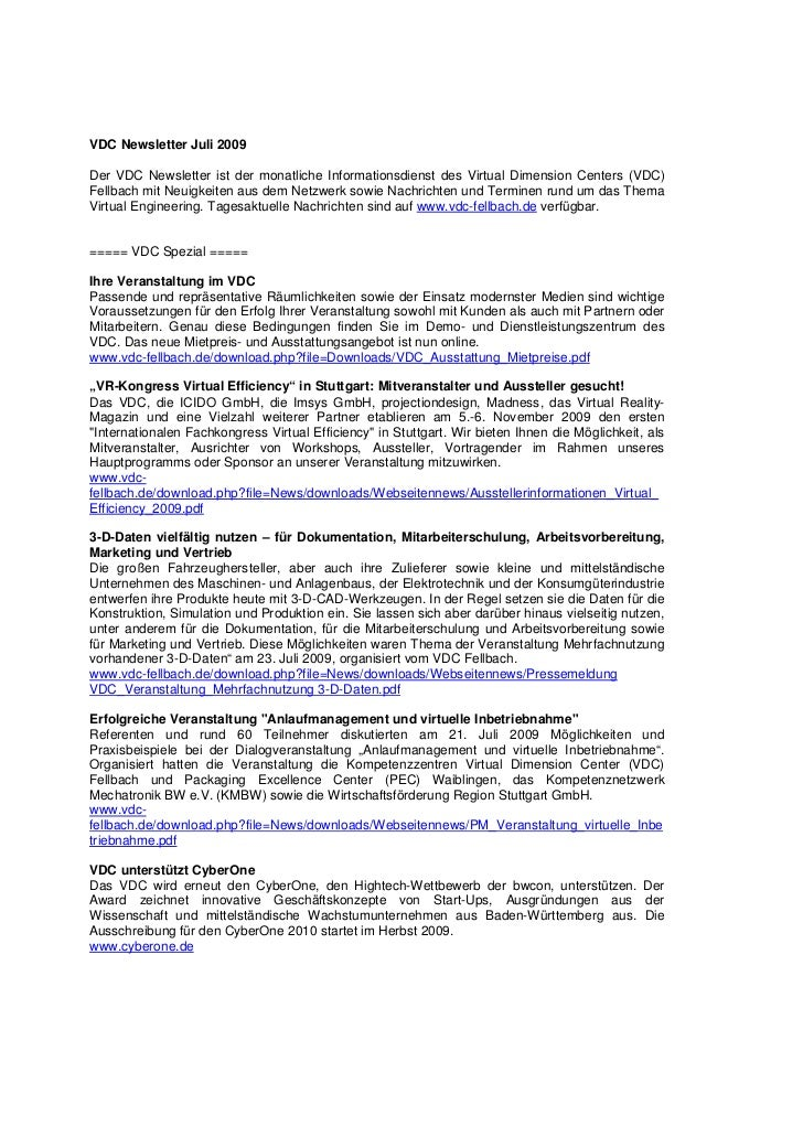 VDC Newsletter Juli 2009Der VDC Newsletter ist der monatliche Informationsdienst des Virtual Dimension Centers (VDC)Fellba...