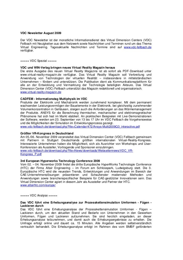 VDC Newsletter August 2009Der VDC Newsletter ist der monatliche Informationsdienst des Virtual Dimension Centers (VDC)Fell...