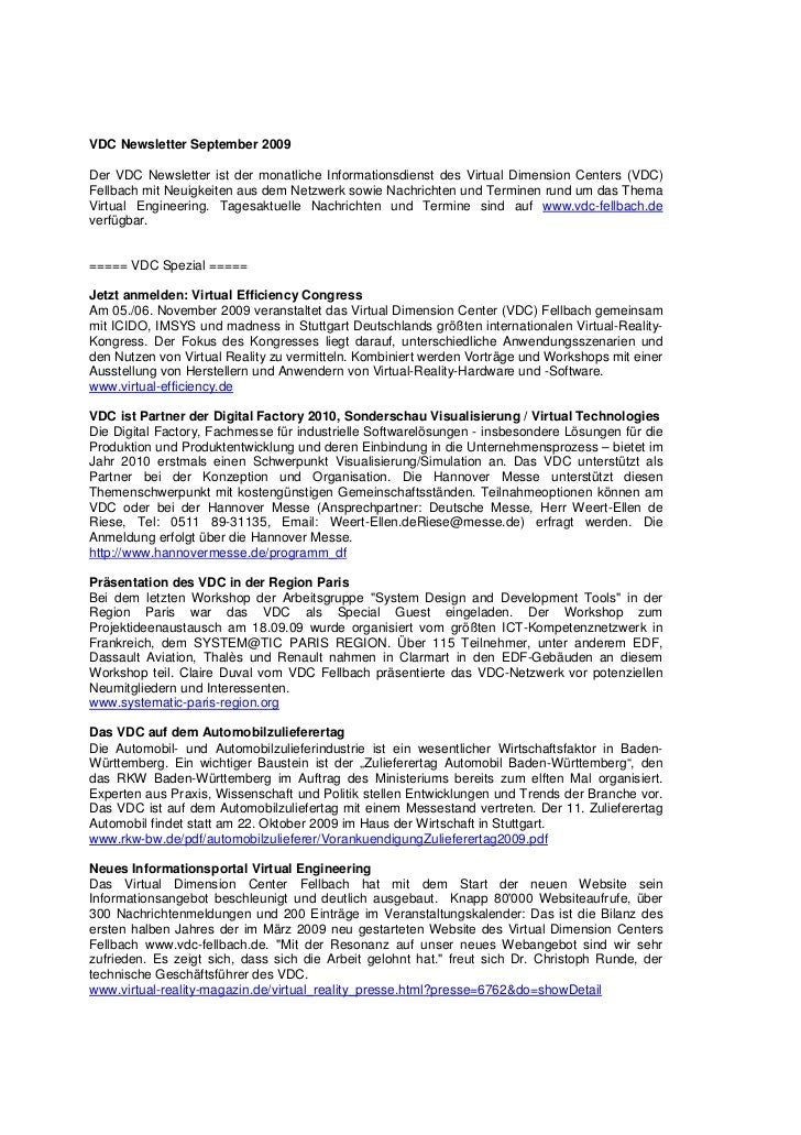 VDC Newsletter September 2009Der VDC Newsletter ist der monatliche Informationsdienst des Virtual Dimension Centers (VDC)F...