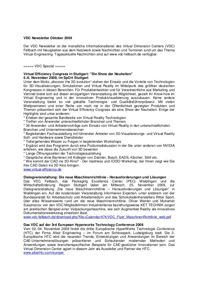 VDC Newsletter Oktober 2009Der VDC Newsletter ist der monatliche Informationsdienst des Virtual Dimension Centers (VDC)Fel...