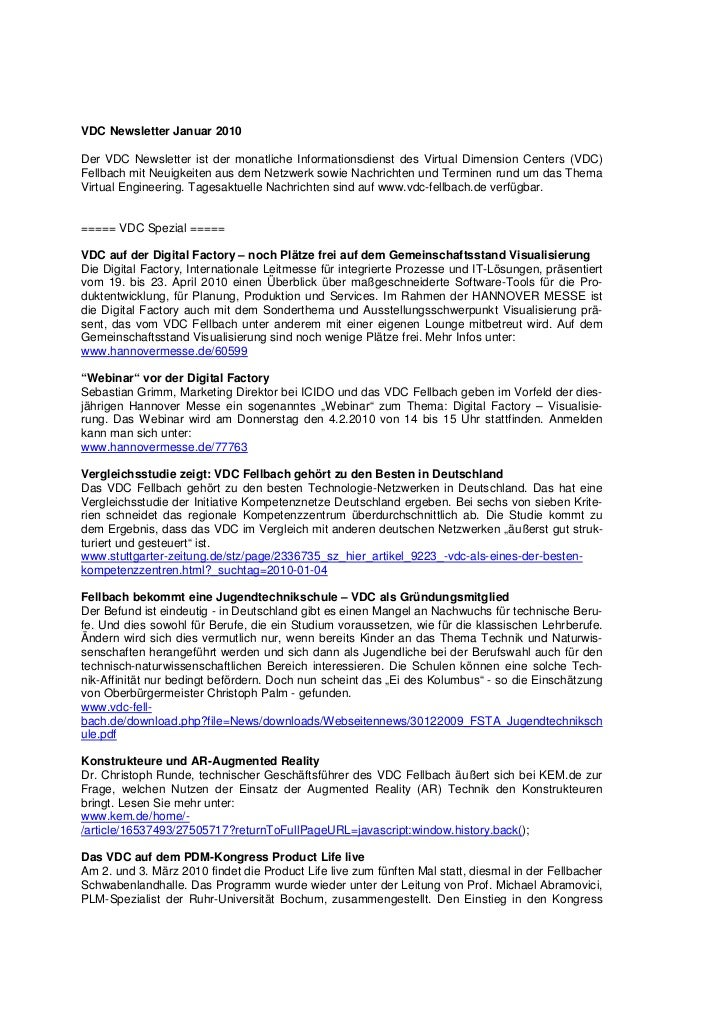 VDC Newsletter Januar 2010Der VDC Newsletter ist der monatliche Informationsdienst des Virtual Dimension Centers (VDC)Fell...
