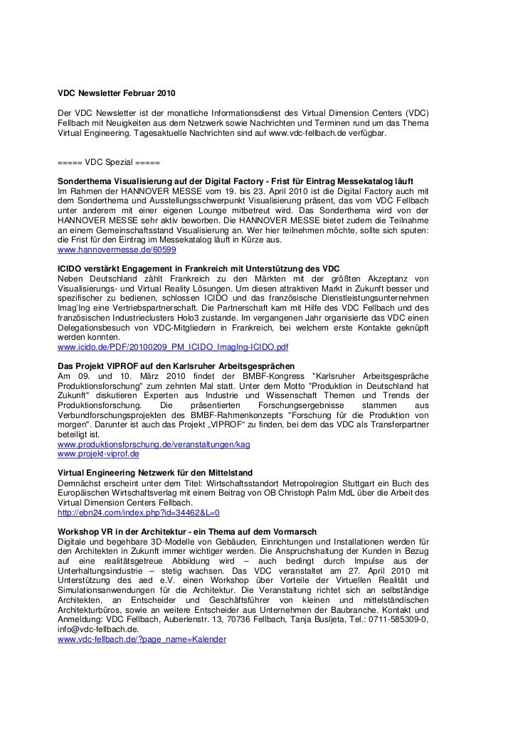 VDC Newsletter Februar 2010Der VDC Newsletter ist der monatliche Informationsdienst des Virtual Dimension Centers (VDC)Fel...
