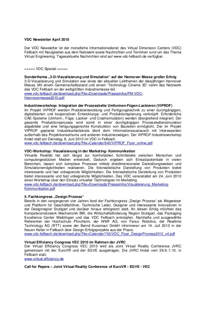VDC Newsletter April 2010Der VDC Newsletter ist der monatliche Informationsdienst des Virtual Dimension Centers (VDC)Fellb...
