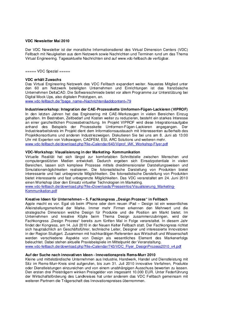 VDC Newsletter Mai 2010Der VDC Newsletter ist der monatliche Informationsdienst des Virtual Dimension Centers (VDC)Fellbac...