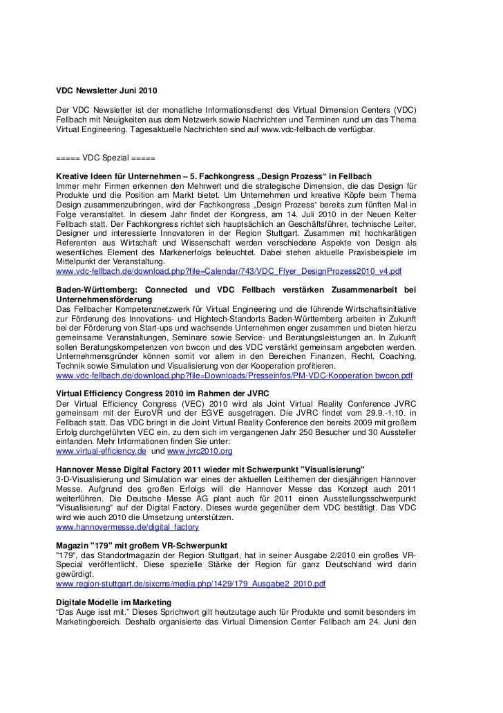VDC Newsletter Juni 2010Der VDC Newsletter ist der monatliche Informationsdienst des Virtual Dimension Centers (VDC)Fellba...