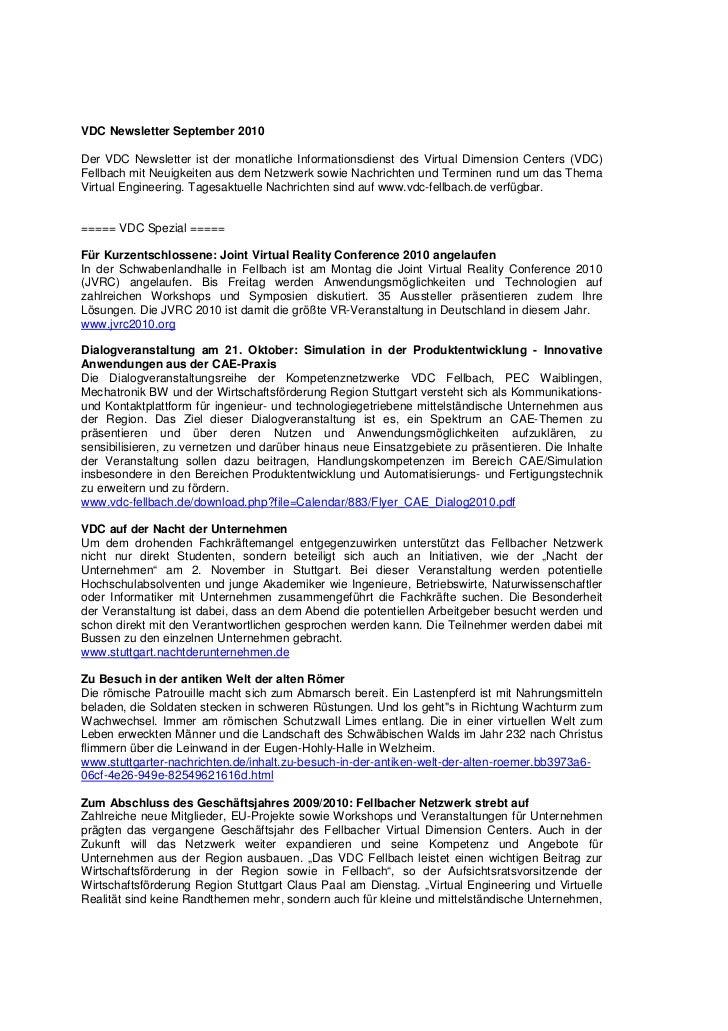 VDC Newsletter September 2010Der VDC Newsletter ist der monatliche Informationsdienst des Virtual Dimension Centers (VDC)F...