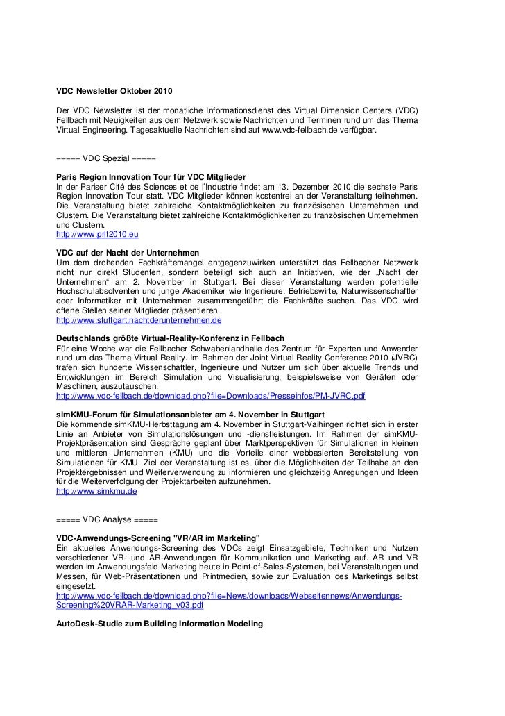 VDC Newsletter Oktober 2010Der VDC Newsletter ist der monatliche Informationsdienst des Virtual Dimension Centers (VDC)Fel...