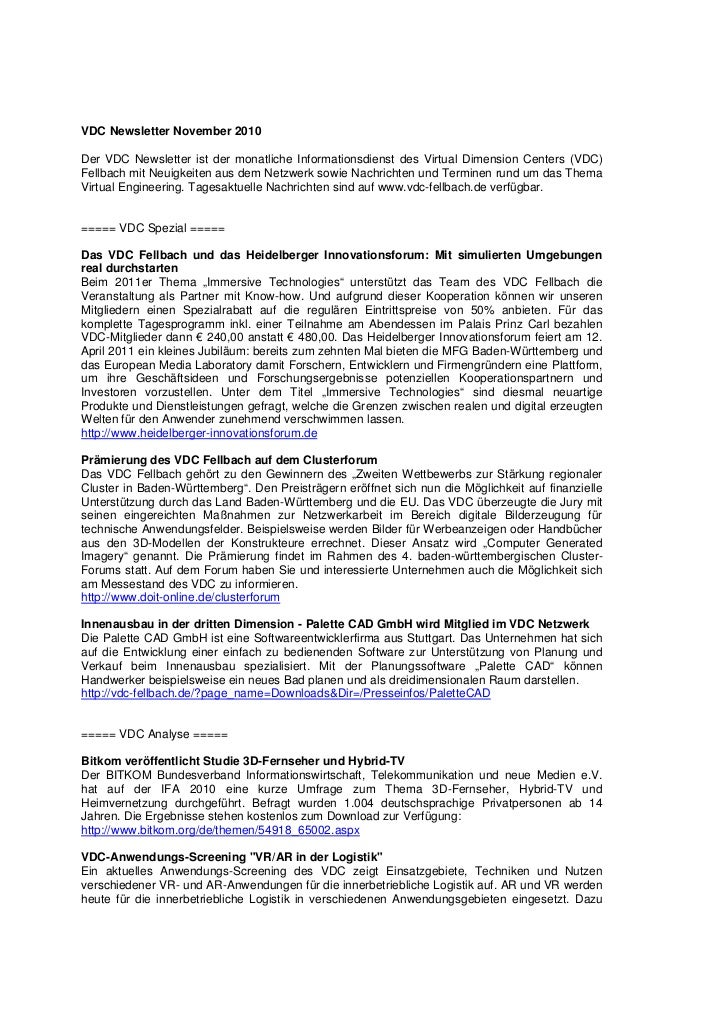 VDC Newsletter November 2010Der VDC Newsletter ist der monatliche Informationsdienst des Virtual Dimension Centers (VDC)Fe...