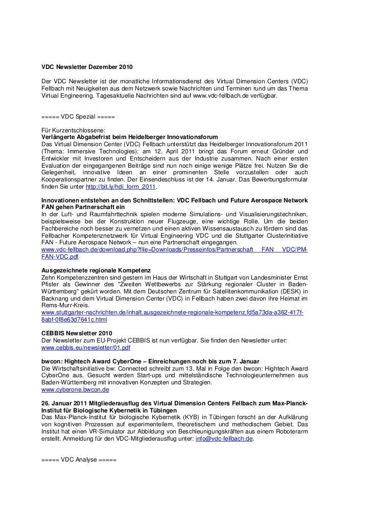 VDC Newsletter Dezember 2010Der VDC Newsletter ist der monatliche Informationsdienst des Virtual Dimension Centers (VDC)Fe...