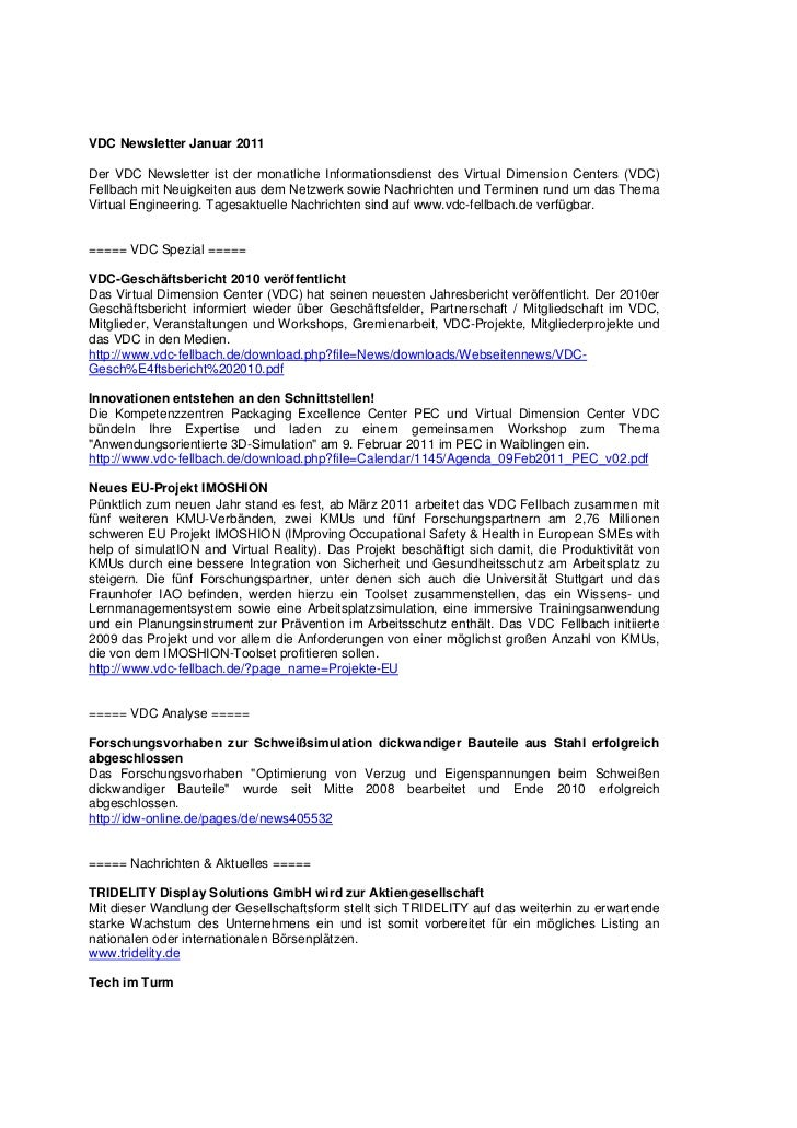 VDC Newsletter Januar 2011Der VDC Newsletter ist der monatliche Informationsdienst des Virtual Dimension Centers (VDC)Fell...