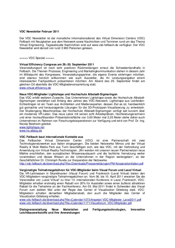 VDC Newsletter Februar 2011Der VDC Newsletter ist der monatliche Informationsdienst des Virtual Dimension Centers (VDC)Fel...