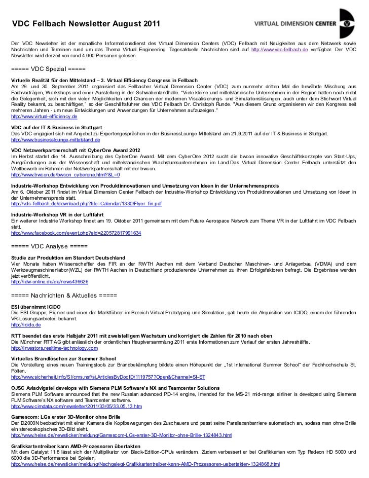 VDC Fellbach Newsletter August 2011Der VDC Newsletter ist der monatliche Informationsdienst des Virtual Dimension Centers ...