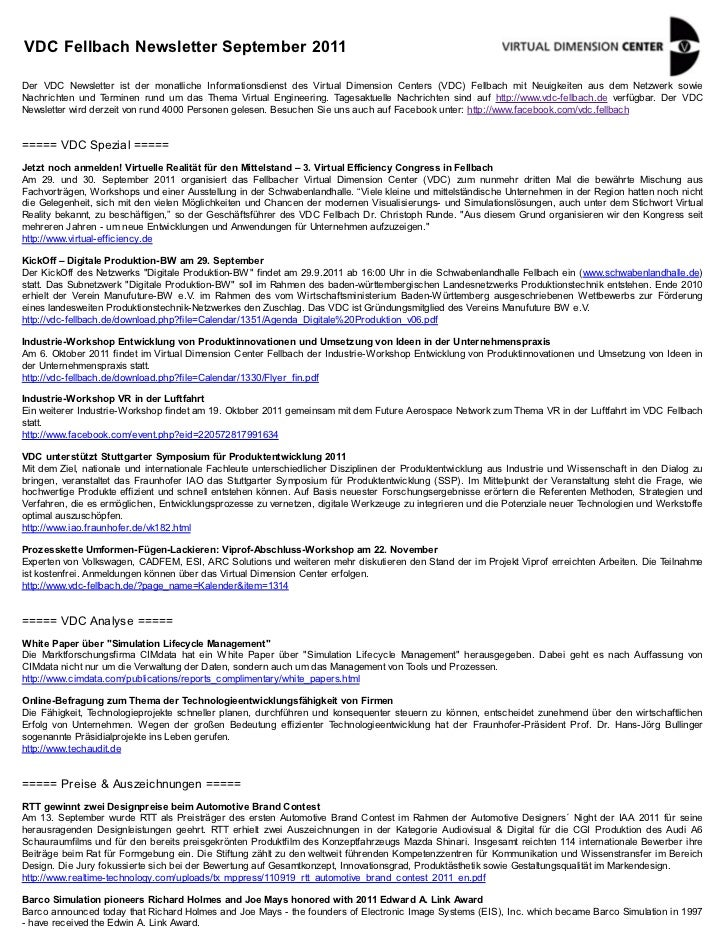 VDC Fellbach Newsletter September 2011Der VDC Newsletter ist der monatliche Informationsdienst des Virtual Dimension Cente...