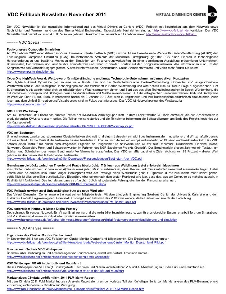 VDC Fellbach Newsletter November 2011Der VDC Newsletter ist der monatliche Informationsdienst des Virtual Dimension Center...