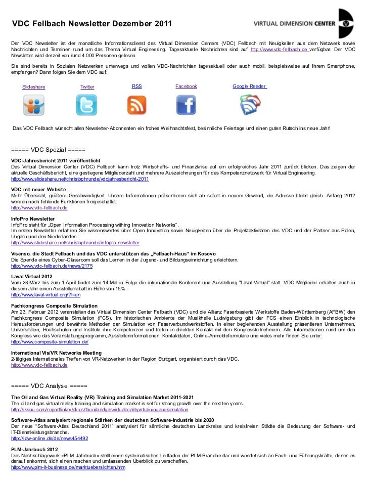 VDC Fellbach Newsletter Dezember 2011Der VDC Newsletter ist der monatliche Informationsdienst des Virtual Dimension Center...