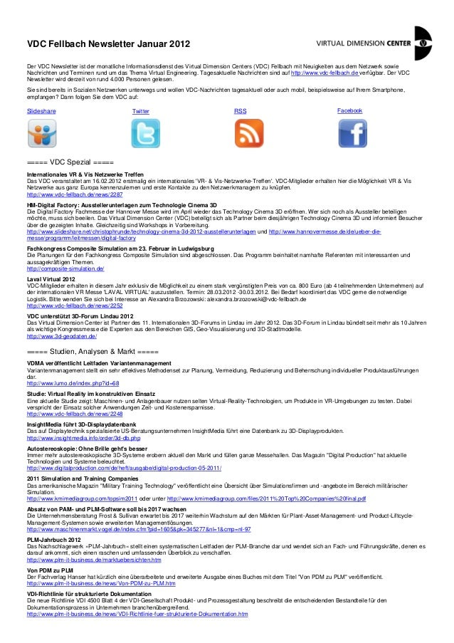 VDC Fellbach Newsletter Januar 2012 Der VDC Newsletter ist der monatliche Informationsdienst des Virtual Dimension Centers...