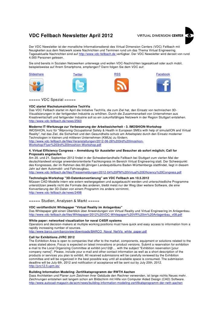 VDC Fellbach Newsletter April 2012Der VDC Newsletter ist der monatliche Informationsdienst des Virtual Dimension Centers (...
