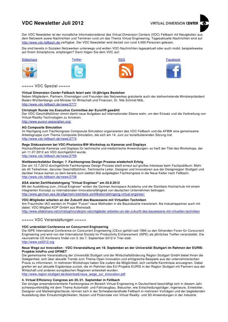 VDC Newsletter Juli 2012Der VDC Newsletter ist der monatliche Informationsdienst des Virtual Dimension Centers (VDC) Fellb...