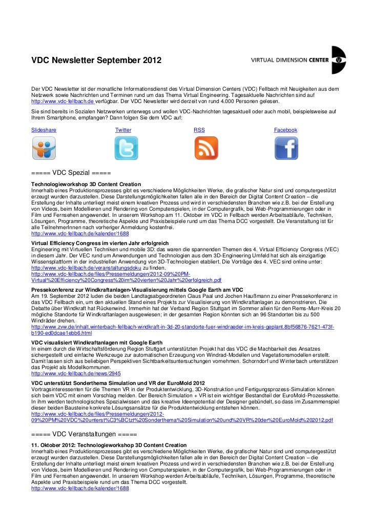 VDC Newsletter September 2012Der VDC Newsletter ist der monatliche Informationsdienst des Virtual Dimension Centers (VDC) ...