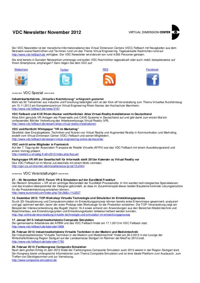 VDC Newsletter November 2012Der VDC Newsletter ist der monatliche Informationsdienst des Virtual Dimension Centers (VDC) F...