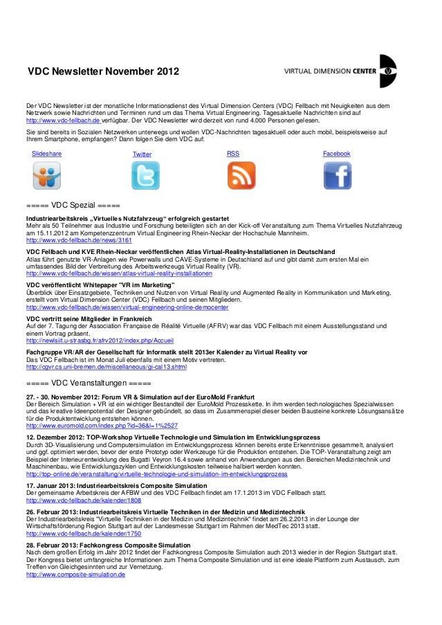 VDC Newsletter November 2012Der VDC Newsletter ist der monatliche Informationsdienst des Virtual Dimension Centers (VDC) F...