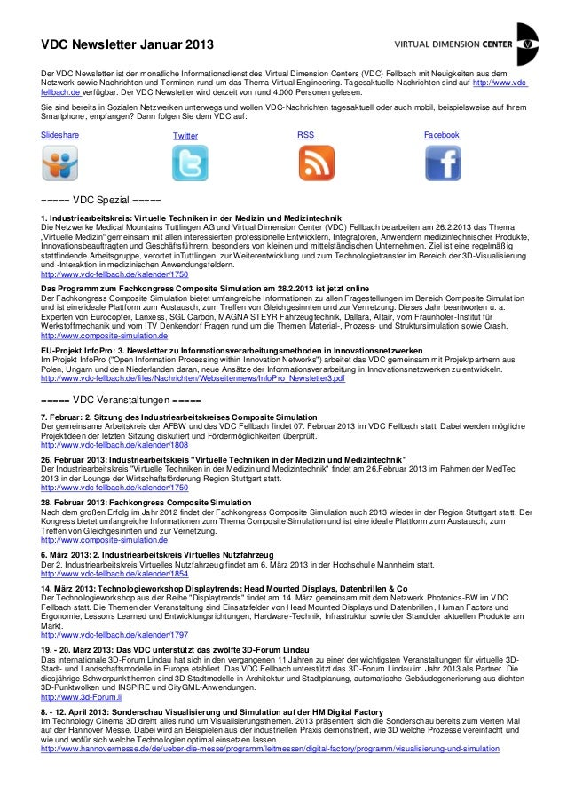 VDC Newsletter Januar 2013Der VDC Newsletter ist der monatliche Informationsdienst des Virtual Dimension Centers (VDC) Fel...
